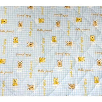Tissu matelass b b vichy animaux bleu largeur 140cm x 50cm - Tissu matelasse pour bebe ...