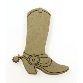 sujet en bois botte cowboy avec éperon