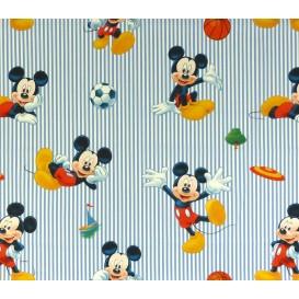 tissu coton disney mickey sport bleu largeur 140cm x 50cm