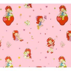 tissu coton charlotte aux fraises rose largeur 140cm x 50cm