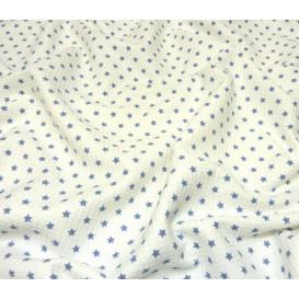 tissu nid d'abeille blanc étoile bleu largeur 153cm x 50cm