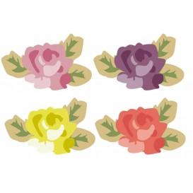 8 embellissements roses en bois