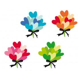 8 embellissements bouquets fleurs coeurs en bois