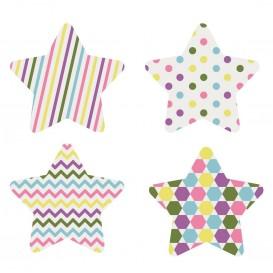 8 embellissements étoiles colorées en bois