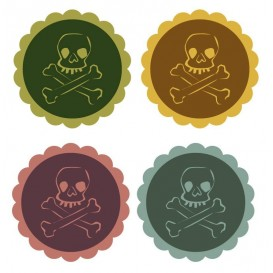 8 embellissements têtes de mort en bois n°2