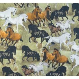 tissu popeline impression digitale chevaux largeur 145cm x 50cm