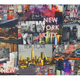 tissu popeline impression digitale new york largeur 145cm x 50cm