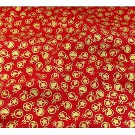 tissu noël rouge boules de noël largeur 150cm x 50cm