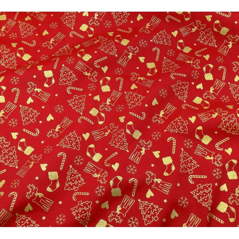 Tissu no l rouge sapin renne dor largeur 150cm x 50cm - Sapin de noel rouge et dore ...