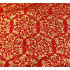 tissu noël rouge arabesque doré largeur 150cm x 50cm