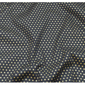 tissu noël marine étoiles doré 3mm largeur 150cm x 50cm