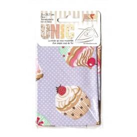 pièce thermocollante lilas cupcakes 21 x 29,7cm
