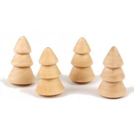 4 minis sapins stylisés en bois 4x2,5cm