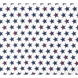 tissu popeline blanc étoile bleu largeur 145cm x 50cm