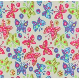 tissu jersey gris papillons multicolores largeur 145cm x 50cm