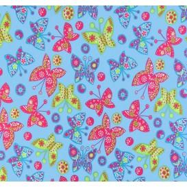 tissu jersey bleu papillons multicolores largeur 145cm x 50cm