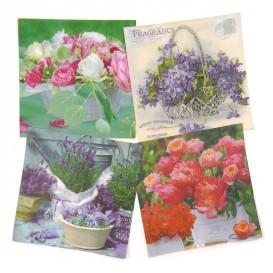 lot de 12 serviettes papier fleurs en pots