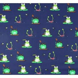 tissu popeline bleu grenouilles largeur 145cm x 50cm