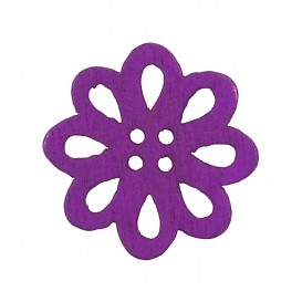 bouton bois fantaisie fleur 20mm