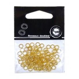 100 anneaux doubles or 5mm