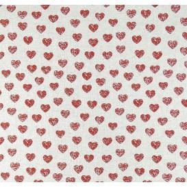 tissu aspect lin coeurs rouge 15mm largeur 150cm x 50cm