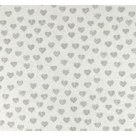 tissu aspect lin coeurs gris 15mm largeur 150cm x 50cm