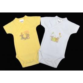 2 bodies jaune et blanc 0mois