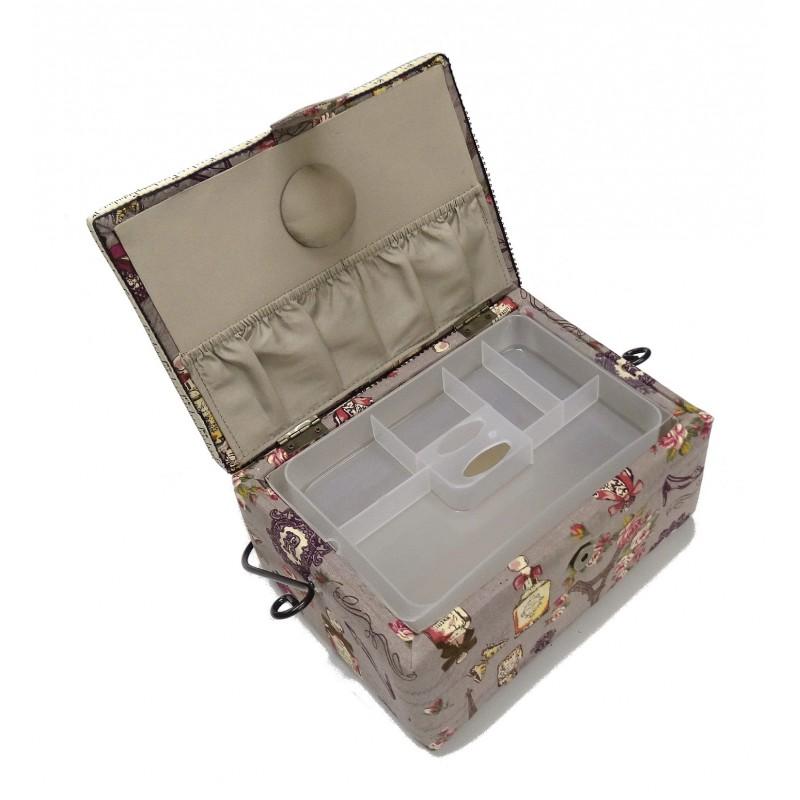 Bo te couture gris paris 25x18x12cm for Boite a couture a decorer