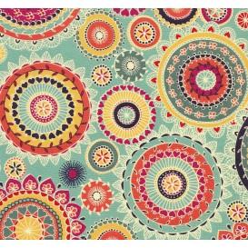 tissu patchwork makower arabesque turquoise largeur 110cm x 25cm