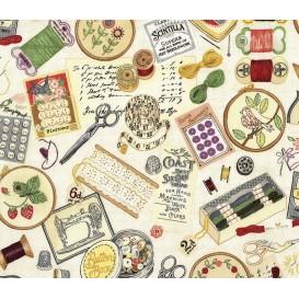tissu patchwork makower couture beige largeur 110cm x 25cm