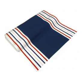tissu toile transat bleu/blanc largeur 44cm x 50cm