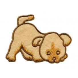 écusson chien beige thermocollant