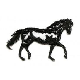 écusson cheval noir et blanc thermocollant