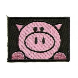 écusson cochon rectangle thermocollant