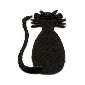 écusson chat noir de dos thermocollant
