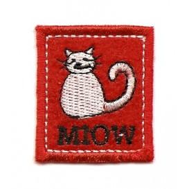 écusson chat carré rouge thermocollant