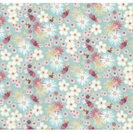 tissu coton zinia turquoise fleurs largeur 160cm x 50cm