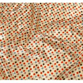 tissu satin beige pois 8mm largeur 148cm x 50cm