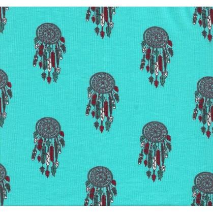 tissu jersey turquoise attrape rêve largeur 145cm x 50cm