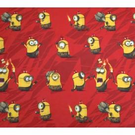 tissu coton minions rouge largeur 140cm x 50cm