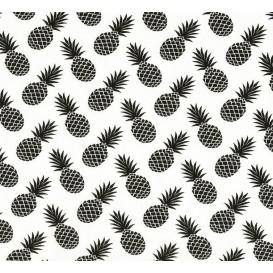 tissu jersey blanc ananas noir largeur 145cm x 50cm