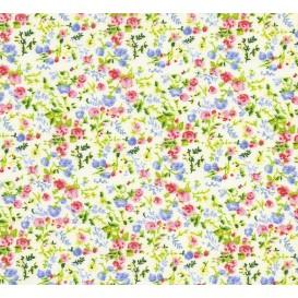 tissu coton blanc fleurs rose/bleu largeur 150cm x 50cm