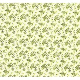 tissu coton anis fleurs vertes largeur 150cm x 50cm