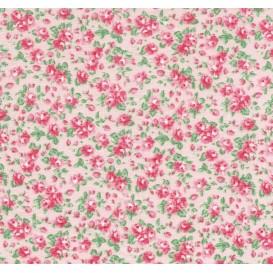tissu coton rose fleurs roses largeur 150cm x 50cm n°2