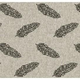 tissu jersey gris plumes origami largeur 145cm x 50cm