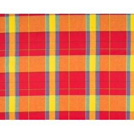 tissu coton madras rouge orange largeur 140cm x 50cm