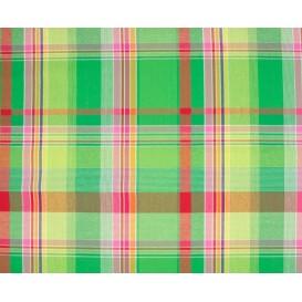 tissu coton madras vert rouge largeur 140cm x 50cm
