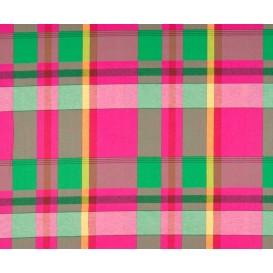 tissu coton madras rose vert largeur 140cm x 50cm