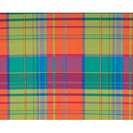 tissu coton madras vert orange largeur 140cm x 50cm