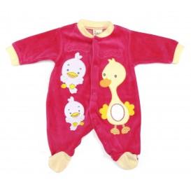 pyjama velours fuchsia canard naissance